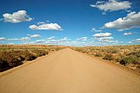 View of a dirt road near Chacon Canyon, New Mexico, USA