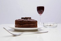 Red wine chocolate cake and an ash tray