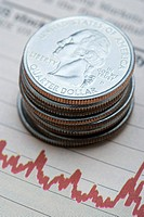Quarter dollars on graph