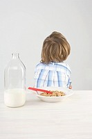 Boy turning back on breakfast