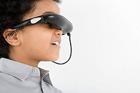 Boy wearing virtual reality headset