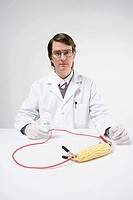 Scientist with sweetcorn and lightbulb