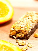 Chocolate bar with cereals and orange