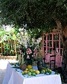 Table setted with flowers and fruits