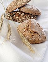Organic bread rolls and rye ears