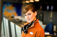 Portrait of a female airline check-in attendant (thumbnail)