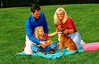 family with half breed dog on meadow