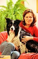 young woman with Border Collie