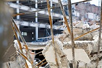 Close_up of debris of demolished building