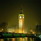 Clock tower illuminated at night, Big Ben, Houses Of Parliament, City Of Westminster, London, England