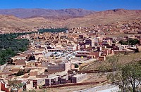 Aerial view of town, Atlas Mountains, Morocco