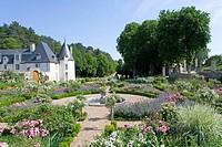 Garden in front of castle, Chateau De La Chatonniere, Indre_Et_Loire, France