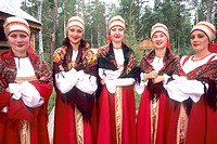 Russian women smiling in traditional clothing, Siberia, Russia