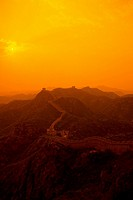 High angle view of fortified wall at dusk, Jinshanling, Great Wall Of China, China