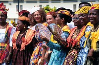 Group of women smiling in tracht, Martinique, Guadeloupe, Antilles