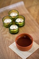 Four Tea Candles and a cup of tea