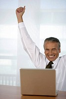 Cheering senior businessman using a laptop