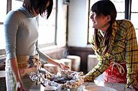 Women preparing meal