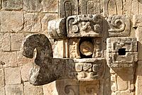 Carved detail, Adivino pyramid, Uxmal, Yucatan, Mexico, pyramid of the Magician