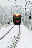 Train in winter, Manlleu. Barcelona province, Catalonia, Spain
