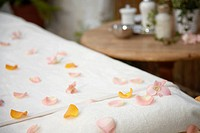 Flower petals on massage table