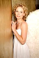 Wall, corner, woman, young, blond, angel wings, smile, leans, wall, half portrait,