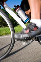 Blurred motion of a cyclist pedaling