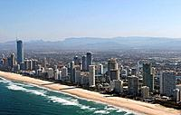 The Gold Coast and the city of Surfers Paradise Queensland Australia
