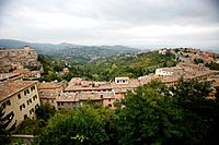 The old city of Perugia and beyond the lanscape of Umbria
