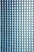 Close up of blue backsplash tiles
