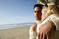 Affectionate couple at beach (thumbnail)