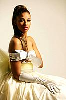 Young African American woman in elegant gown, studio shot (thumbnail)