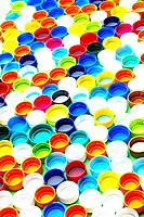 Full frame of multi_colored bottle caps