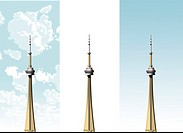 CN Tower on three different sky backgrounds