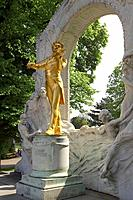 Guilded Statue Of Johann Strauss II, Vienna, Austria
