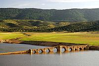 Medieval bridge of the 'Mesta' (medieval association of sheep holders), Villarta de los Montes. Badajoz province, Extremadura, Spain