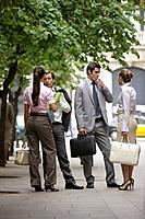 Business team talking on street