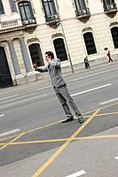 Business man waiting for cab