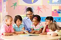 Multi_ethnic school children listening to teacher read book