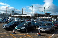 Dun Laoghaire, County Dublin, Ireland, Cars awaiting ocean ferry