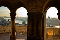 View from Fisherman's Bastion, Castle Hill, Budapest, Hungary, Matthias Church and the Danube in the distance