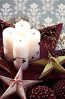 Pillar candles and Christmas decorations