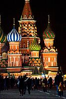 St Basil's Cathedral at night, Red Square, Moscow, Russian Federation