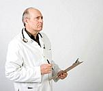 Male doctor with stethoscope, holding clipboard