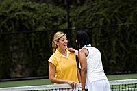 Women talking over tennis net