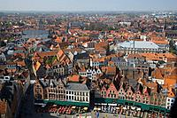 Belgium, Flanders, Bruges, cityscape, elevated view