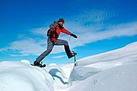Man snowshoeing, Ilulissat, Greenland