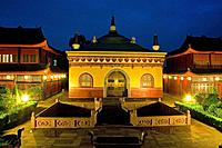 Wannian Monastery and temple, brick hall with Buddha riding white elephant, pilgrims hostel, small restaurant, Sichuan Province, Emeishan, Mount Emei,...
