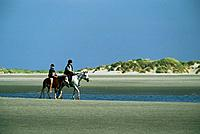 Riding on horses on the beach, Norderney Island, Germany