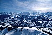 Aerial view of Gstaad Ski Resort, Bernese Oberland, Switzerland
